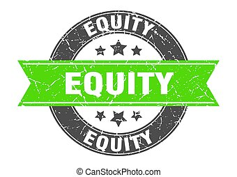 equity round stamp with ribbon. label sign - equity round ...