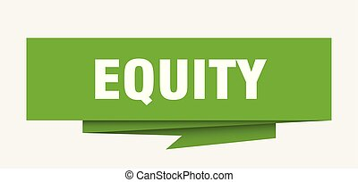 equity sign. equity paper origami speech bubble. equity tag. equity banner