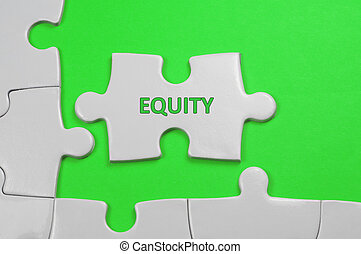 Equity Text - Business Concept - Equity word on white puzzle...