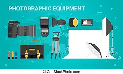 equpment, bandiere, fotografico, tre