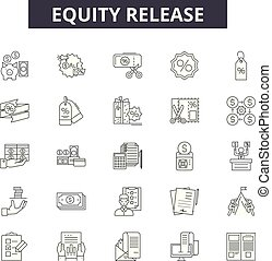 Eququity release line icons, signs set, vector. Eququity release outline concept, illustration: money,debt,3d credit,mortgage,loan,finance,property,financial,credit line