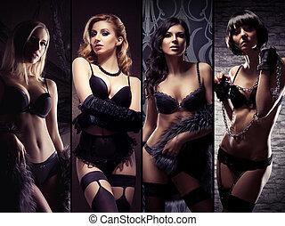 erótico, lenceria, joven, mujeres