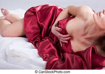 erótico, momentos, en cama