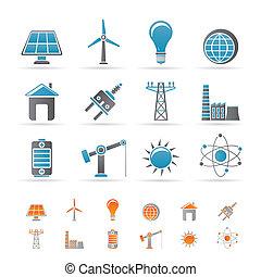 erő, energia, és, villanyáram, ikonok