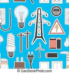 erő, ikonok, villanyáram, energia, befest, motívum