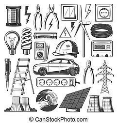 erő, ikonok, villanyáram, energia, eredetek, vektor