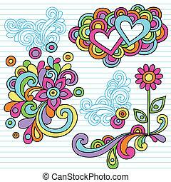 erő, szórakozottan firkálgat, vektor, virág, jegyzetfüzet