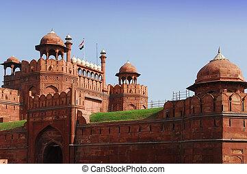 erőd, delhi, india, piros