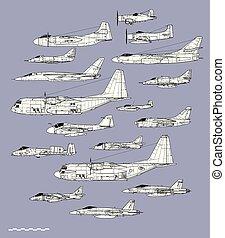 erőltet, áttekintés, repülőgép, levegő, amerikai, vektor, profiles., haditengerészet, planes., támad, rajz
