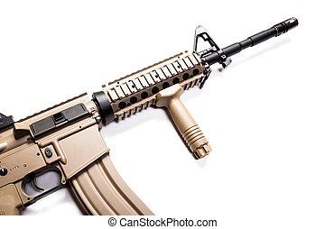 erőltet, carbine, elszigetelt, háttér, fehér, különleges