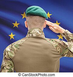 erőltet, egyesítés, sorozat, nemzeti, -, fogalmi, lobogó, háttér, eu, hadi, európai