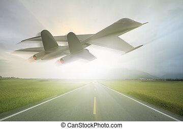 erőltet, hely, modern, levegő, vakolás, jetfighters, 3