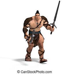erős, barbár, verekszik, noha, kard, és, fejsze