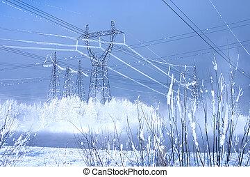 erős, egyenes, közül, villanyáram, costing, alatt, egy, környezet, közül, hófúvás, képben látható, egy, háttér, közül, a, kék ég