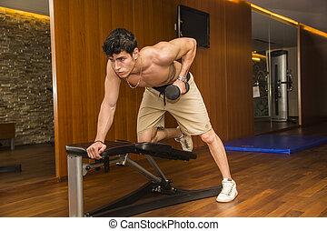 erős, fiatal, hím atléta, munka munka, alatt, tornaterem, gyakorlás, triceps