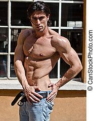 erős, fiatal, testépítő, shirtless, szabadban, alatt, farmernadrág