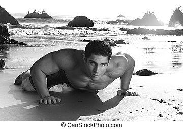 erős, fiatalember, képben látható, egy, tengerpart
