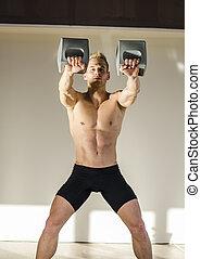 erős, fiatalember, shirtless, alatt, tornaterem, képzés, noha, kettlebells