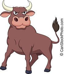 erős, karikatúra, bika