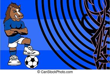 erős, sportszerű, ló, futball játékos, karikatúra, háttér