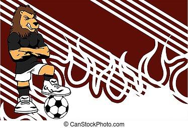 erős, sportszerű, oroszlán, futball játékos, karikatúra,...
