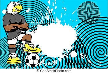 erős, sportszerű, sas, futball játékos, karikatúra, háttér