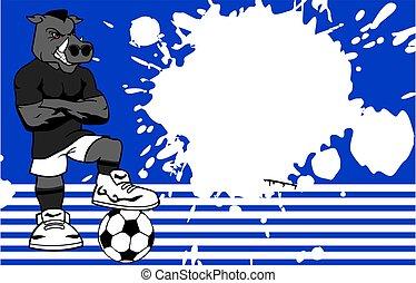 erős, sportszerű, vad disznó, futball játékos, karikatúra,...
