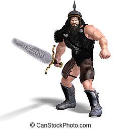 erős, törpe, noha, kard