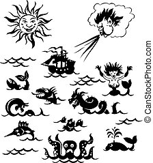erős, tenger, szörnyek