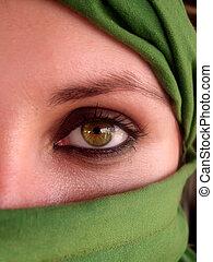 erős, zöld szem, közül, arab, leány