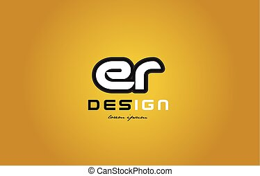 er e r alphabet letter combination digit white on yellow background