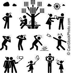 era., コミュニケーション, 使用法, 細胞, living., 電話, 技術, 現代