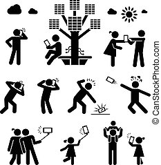era., kommunikation, brauch, zelle, living., telefon, ...