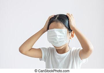era, niña, máscara, cubierta protectora, ella, médico, cara ...