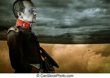 era soldier over desert background