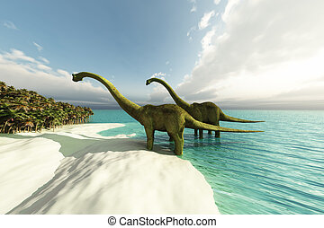 ERA - Two Diplodocus dinosaurs wade is shallow waters of a...