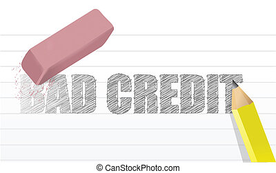 erase bad credit concept illustration design over a white...