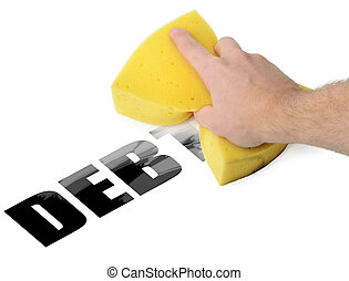 Erase Debt - Wiping debt way with a sponge