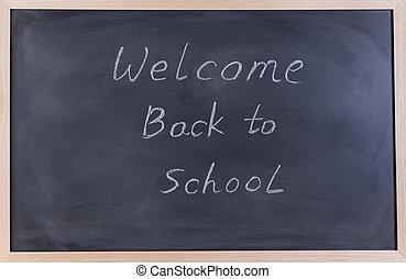 erased, negro, pizarra, con, bienvenida, back to la escuela, mensaje, para, estudiantes