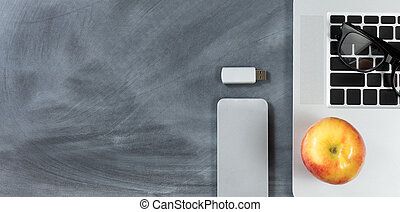 erased, skola, nymodig, baksida, objekt, chalkboard, teknologi