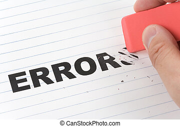 eraser and word error, concept of Making Changing