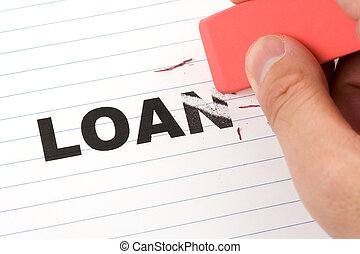 eraser and word loan, concept of Reduce loan