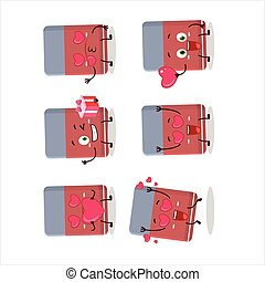 Eraser cartoon character with love cute emoticon