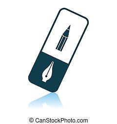 Eraser Icon. Shadow Reflection Design. Vector Illustration.