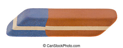 Eraser isolated on a white background close-up.