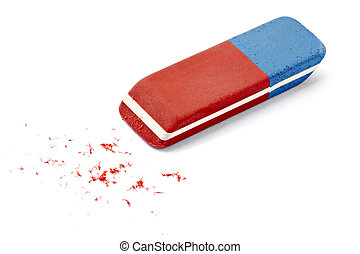 eraser school education - close up of an eraser on white...