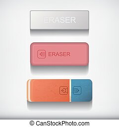 Eraser set isolated on white background.