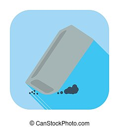 Eraser. Single flat color icon. Vector illustration.