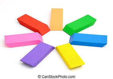 Eraser - Three colour erasers on a white background