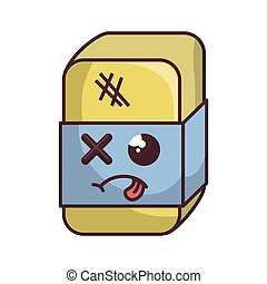 eraser with sick face cartoon